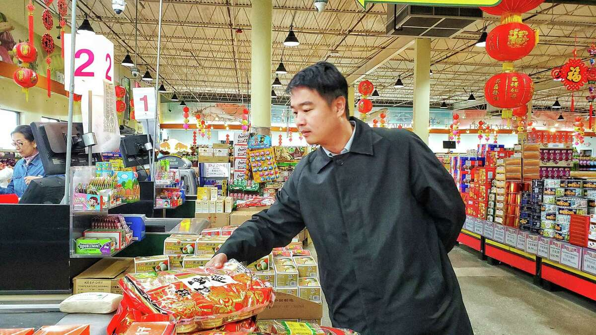 Owner Feng Chen, inside his Jusgo Supermarket at 9280 Bellaire Blvd. in Chinatown, Houston, Texas on Jan. 31, 2020. Local community leaders and business owners are expected to attend a public health forum at the Chinese Community Center tonight to address rumors about a coronavirus outbreak and prevention efforts.