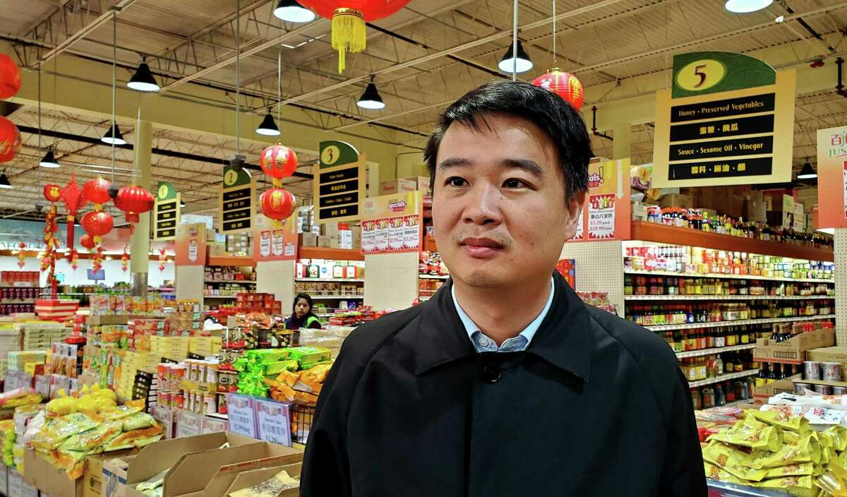 Owner Feng Chen, inside his Jusgo Supermarket at 9280 Bellaire Blvd. in Chinatown, Houston, Texas (1/31/2020).