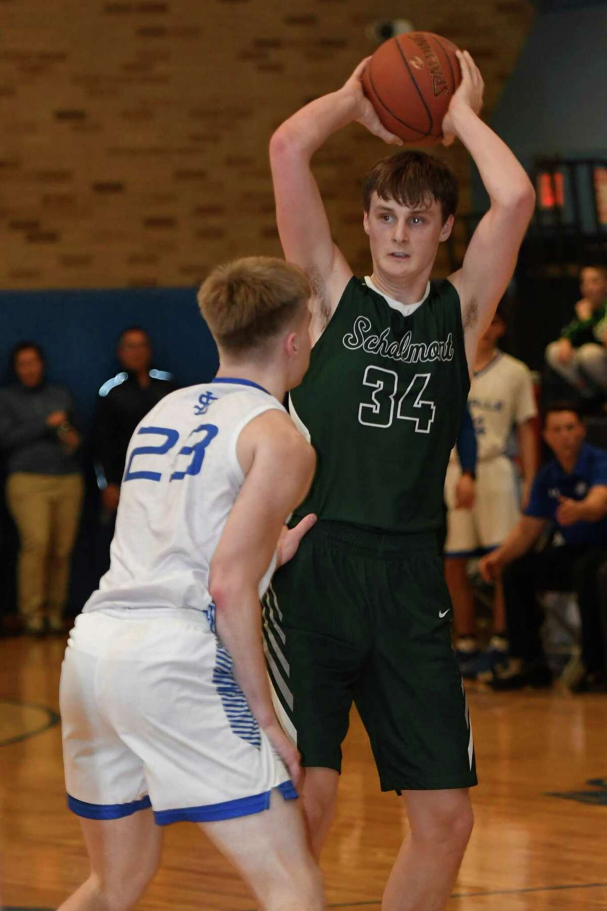 LaSalle's Bo Catherwood guards Schalmont's Shane O'Dell during a game on Friday, Jan. 31, 2020, in Troy, N.Y. (Jenn March, Special to the Times Union )