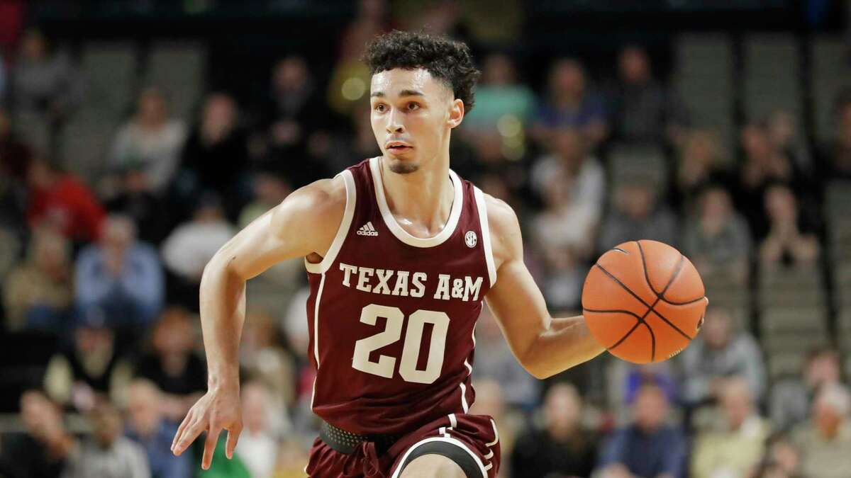 Texas A&M guard Andre Gordon plays against Vanderbilt in an NCAA college basketball game Saturday, Jan. 11, 2020, in Nashville, Tenn. (AP Photo/Mark Humphrey)