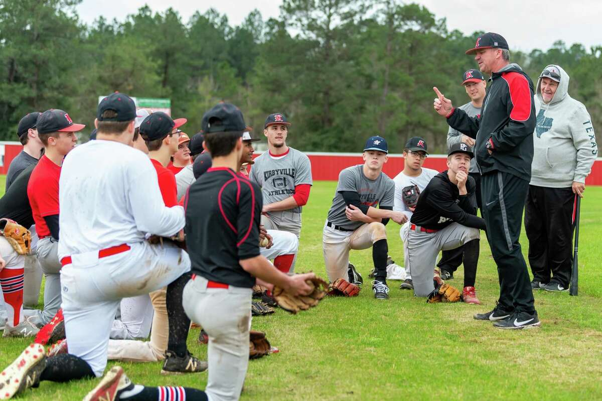 Coach Craig Jones tells the team what he expects of them as the Kirbyville baseball team takes the field for their first day of practice on January 31, 2020. Fran Ruchalski/The Enterprise