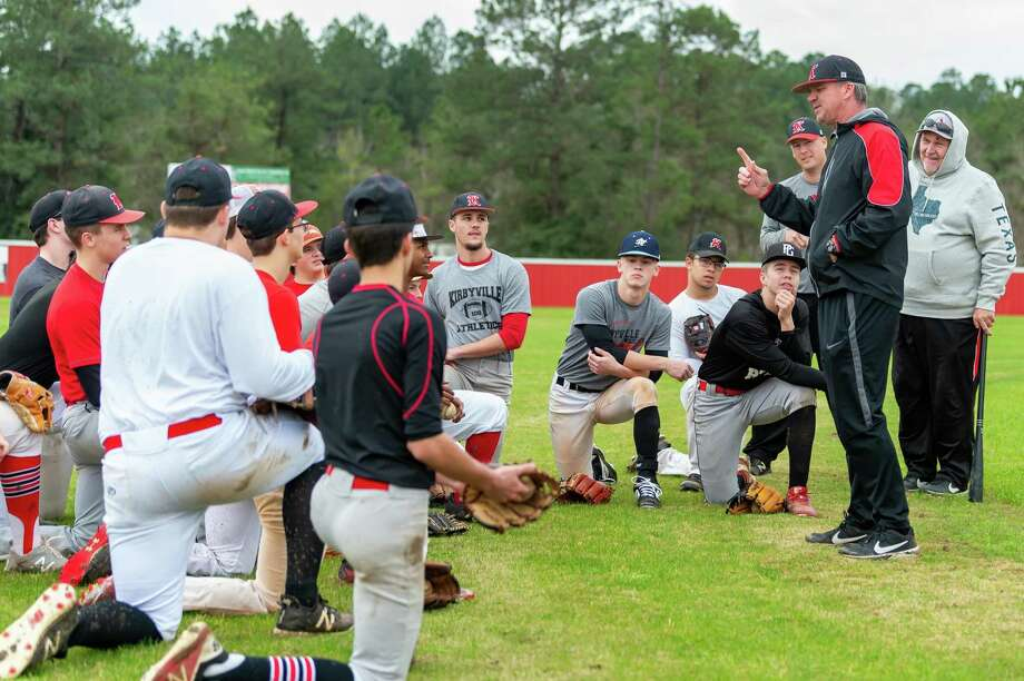 Coach Craig Jones tells the team what he expects of them as the Kirbyville baseball team takes the field for their first day of practice on January 31, 2020. Fran Ruchalski/The Enterprise Photo: Fran Ruchalski/The Enterprise / 2019 The Beaumont Enterprise