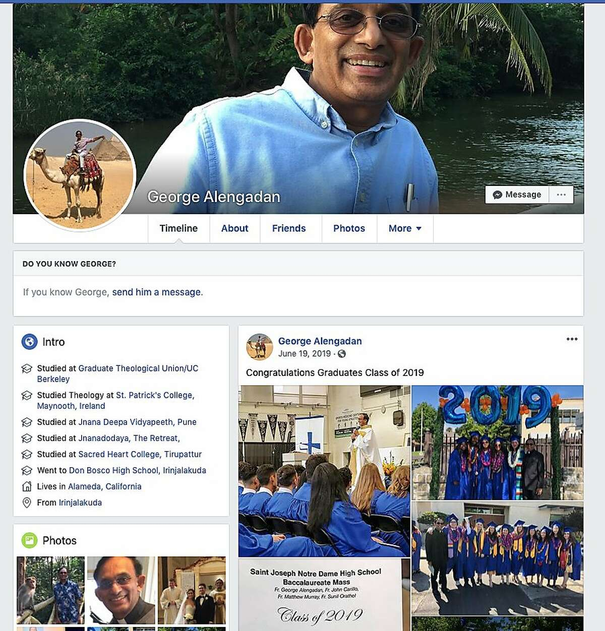 Pictured is the Facebook page of Father George Alengaden, who was reported to police by the Catholic Diocese of Oakland for allegedly sexually harassing a number of employees at St. Joseph Basilica. The diocese ordered the priest to participate in training and receive support at Christ the King Church in Pleasant Hill, upsetting members of the parish when they learned of his past history.