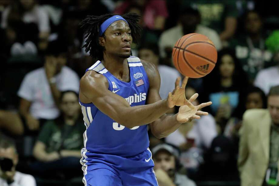 Memphis forward Precious Achiuwa (55) passes against South Florida during the second half of an NCAA college basketball game Sunday, Jan. 12, 2020, in Tampa, Fla. Memphis won the game 68-64. (AP Photo/Chris O'Meara) Photo: Chris O'Meara / Associated Press / Copyright 2020 The Associated Press. All rights reserved.
