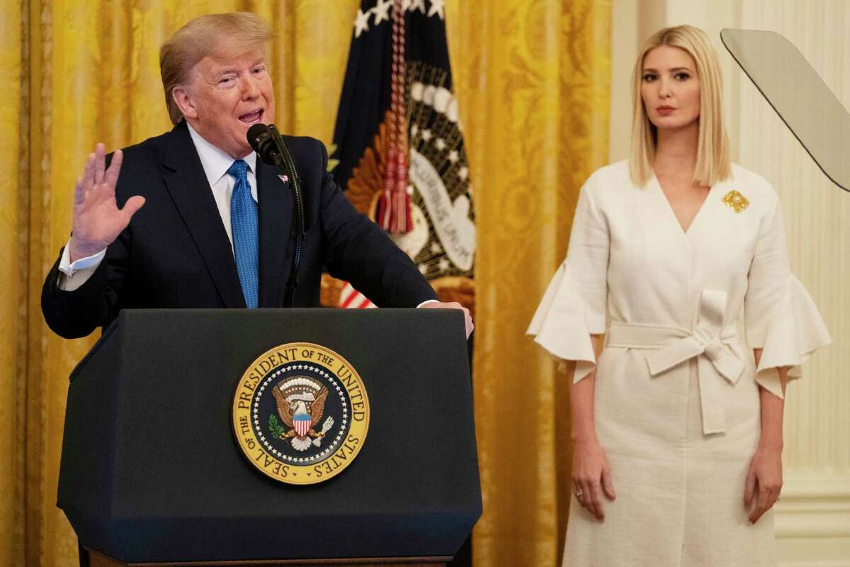 Ivanka Trump listens as President Donald Trump speaks during an event on human trafficking in the East Room of the White House, Friday, Jan. 31, 2020, in Washington. (AP Photo/ Evan Vucci)