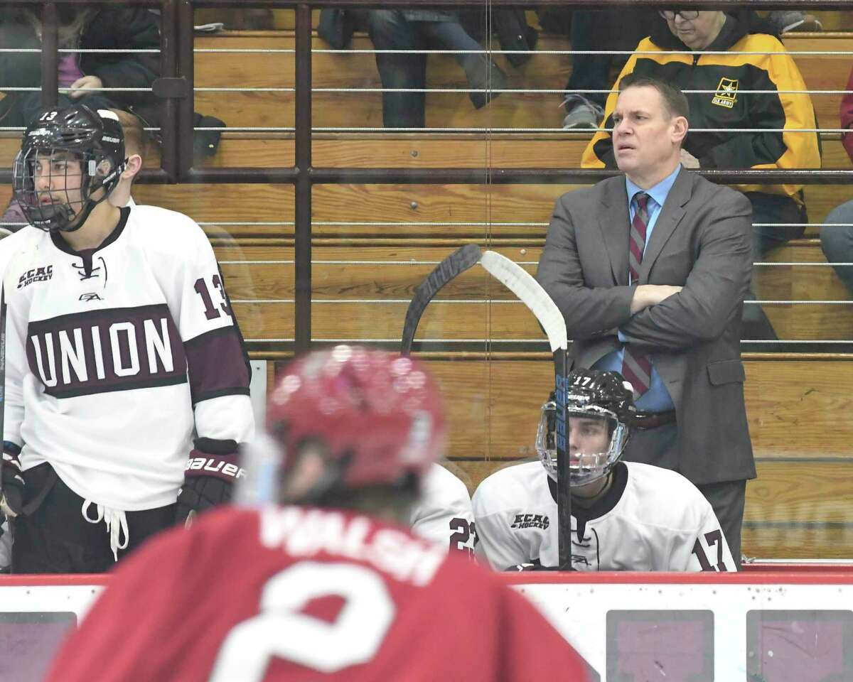 Union head coach Rick Bennett coaches his team against Harvard during the second period of an NCAA college hockey game Friday, Jan. 31, 2020, in Schenectady, N.Y.,