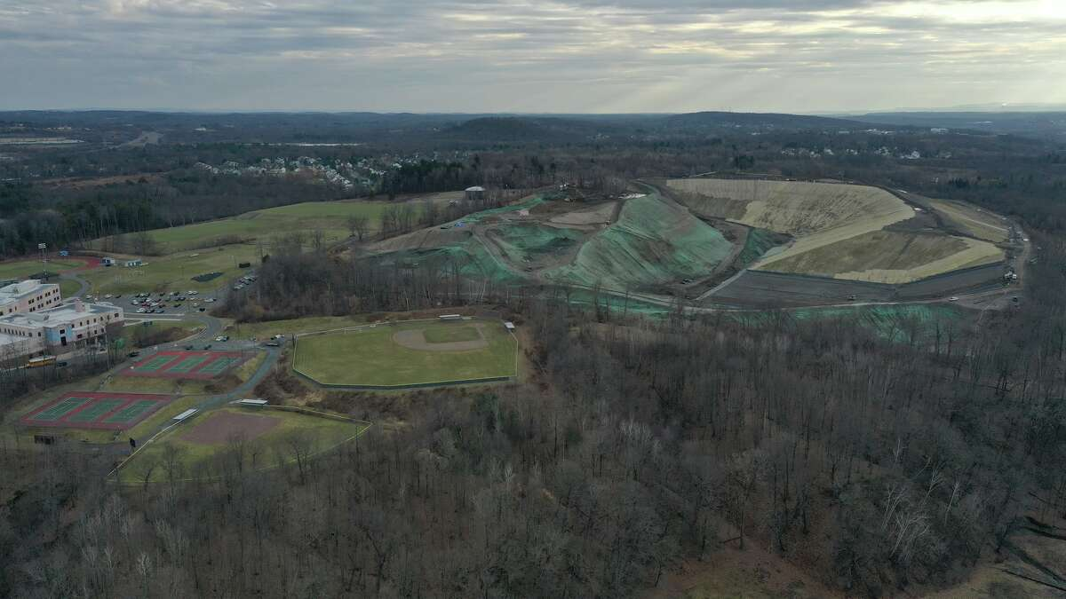 The Dunn landfill adjacent to the elementary, middle and high school complex in Rensselaer. (Photo courtesy Rensselaer Environmental Coalition.)
