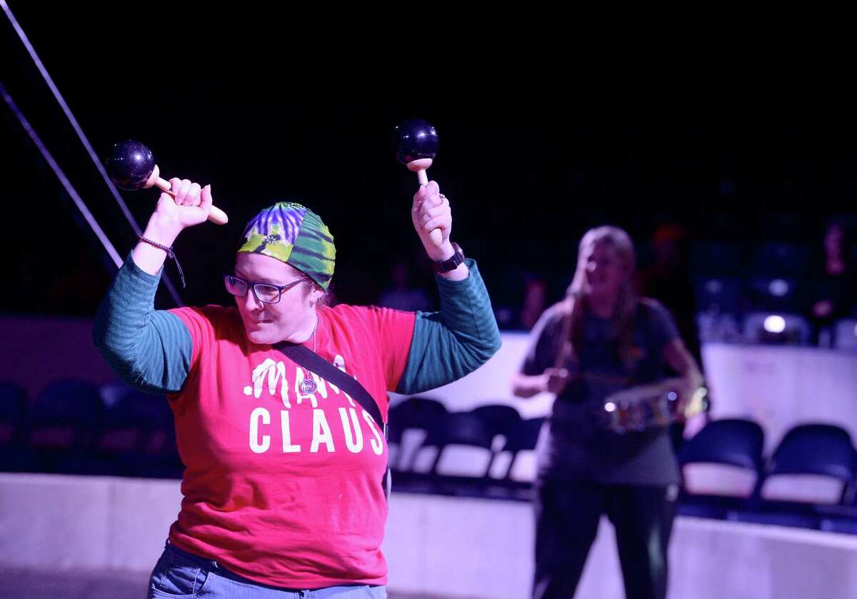 Kristyn Davis jpins the clowns center-ring during an audience participation act at the opening performance of the Garden Bros. Circus at Ford Park Friday. The circus will hold three performances Saturday at 1:30, 4:30 and 7:30 p.m. Photo taken Friday, Jan. 31, 2020 Kim Brent/The Enterprise