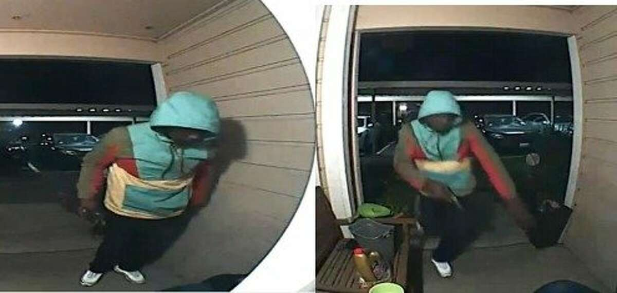 Screenshots show a suspect in an armed robbery of an Oakland woman at her doorstep.