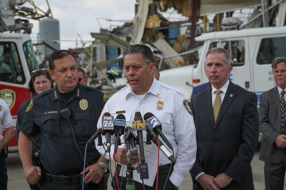 Houston Police Department Chief Art Acevedo (l-r), Houston Fire Department Chief Samuel Peña and the Bureau of Alcohol, Tobacco, Firearms and Explosives (ATF) Special Agent Fred Milanowski gave an update on the ongoing joint investigation of an explosion at the Watson Grinding and Manufacturing plant Friday, Jan. 31, 2020, in Houston.