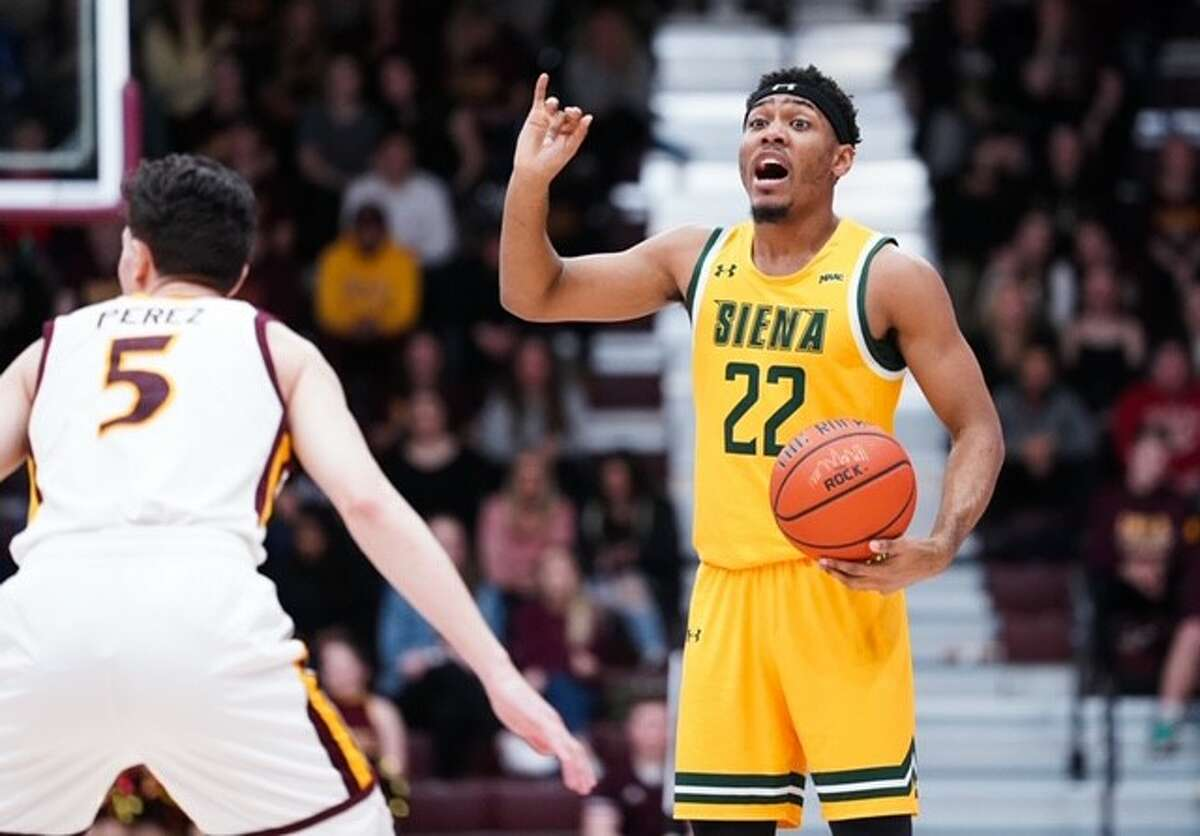 Siena's Jalen Pickett calls out a play against Iona during their Metro Atlantic Athletic Conference game on Friday, Jan. 31, 2020, at Hynes Athletics Center. (Geraldo Rodriguez / Special to the Times Union)