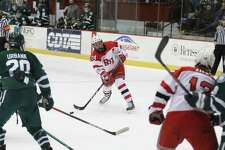 Will Reilly of RPI unleashes a shot against Dartmouth during their ECAC game on Friday, Jan. 31, 2020, at Houston Field House. (Courtesy of RPI Athletics)