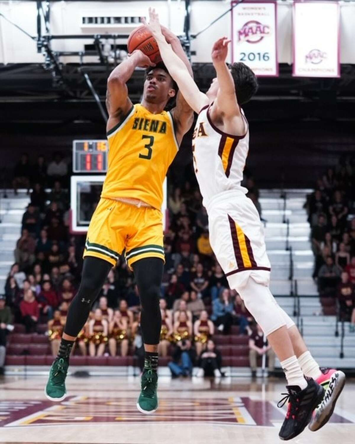 Siena Manny Camper puts up a shot against Iona during their Metro Atlantic Athletic Conference game on Friday, Jan. 31, 2020, at Hynes Athletics Center. (Geraldo Rodriguez / Special to the Times Union)