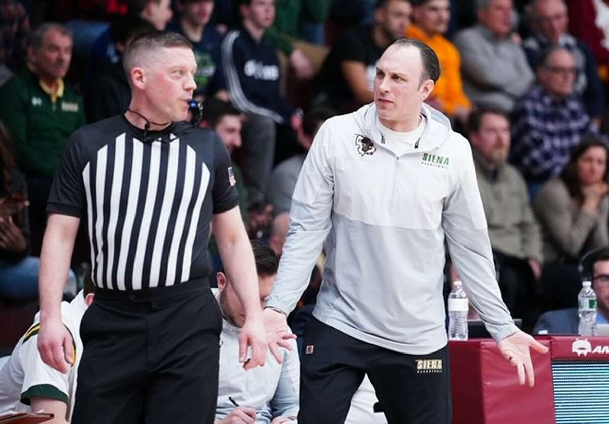 Siena coach Carmen Maciariello discussed a call with an official during the Saints' Metro Atlantic Athletic Conference game against Iona on Friday, Jan. 31, 2020, at Hynes Athletics Center. (Geraldo Rodriguez / Special to the Times Union)