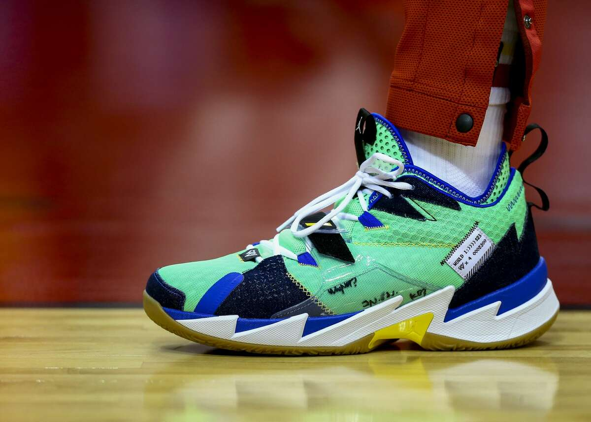 Houston Rockets guard Russell Westbrook's (0) shoes before the start of an NBA game against the Dallas Mavericks at the Toyota Center Friday, Jan. 31, 2020, in Houston.