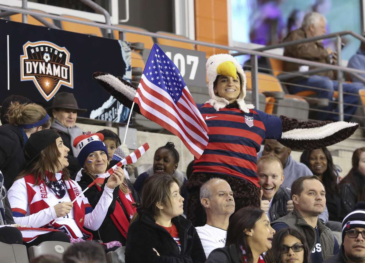 A United States fan dressed up as an eagle to cheer for the team at the first half of the CONCACAF Women's Olympic Qualifying Tournament match against the Panama Friday, Jan. 31, 2020, at BBVA Stadium in Houston.