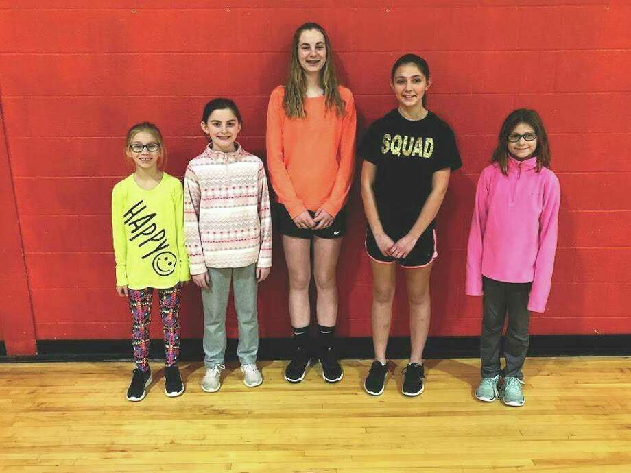 Above left, winners for the girls included Reese Booms, Kadey London, Mariah Jahn, Bridget Anderson and Emma Roggenbuck. Missing from the photo is Savana Roggenbuck. Winners for the boys include Ilija Cirovski, Joel Schave, Chase Shaw-Walker, Dustin Emerick, Benson Harper, and Andrew Bishop. (Submitted Photo)