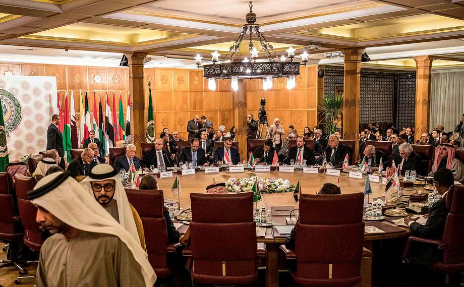Arab League foreign ministers meet in an emergency session in the Egyptian capital of Cairo. Palestinian President Mahmoud Abbas assailed the U.S. peace plan as heavily favoring Israel. Photo: Khaled Desouki / AFP / Getty Images