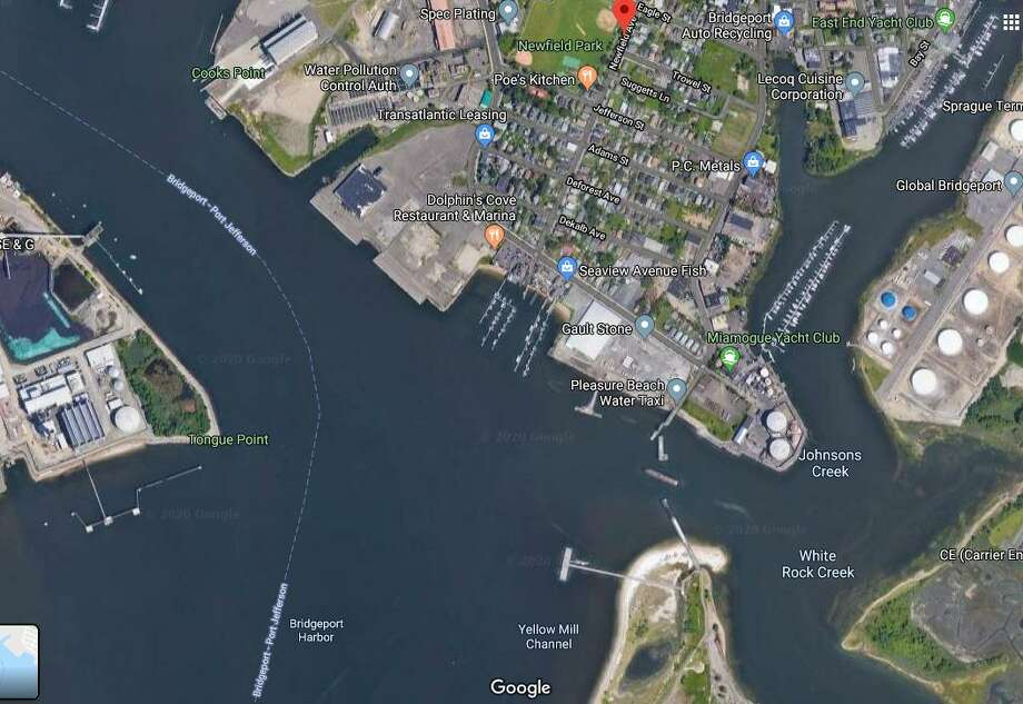 A Google Maps satellite image shows access to the harbor off of Newfield Avenue in Bridgeport, Conn. Photo: Courtesy Of Google Maps