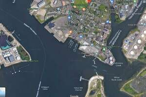 A Google Maps satellite image shows access to the harbor off of Newfield Avenue in Bridgeport, Conn.