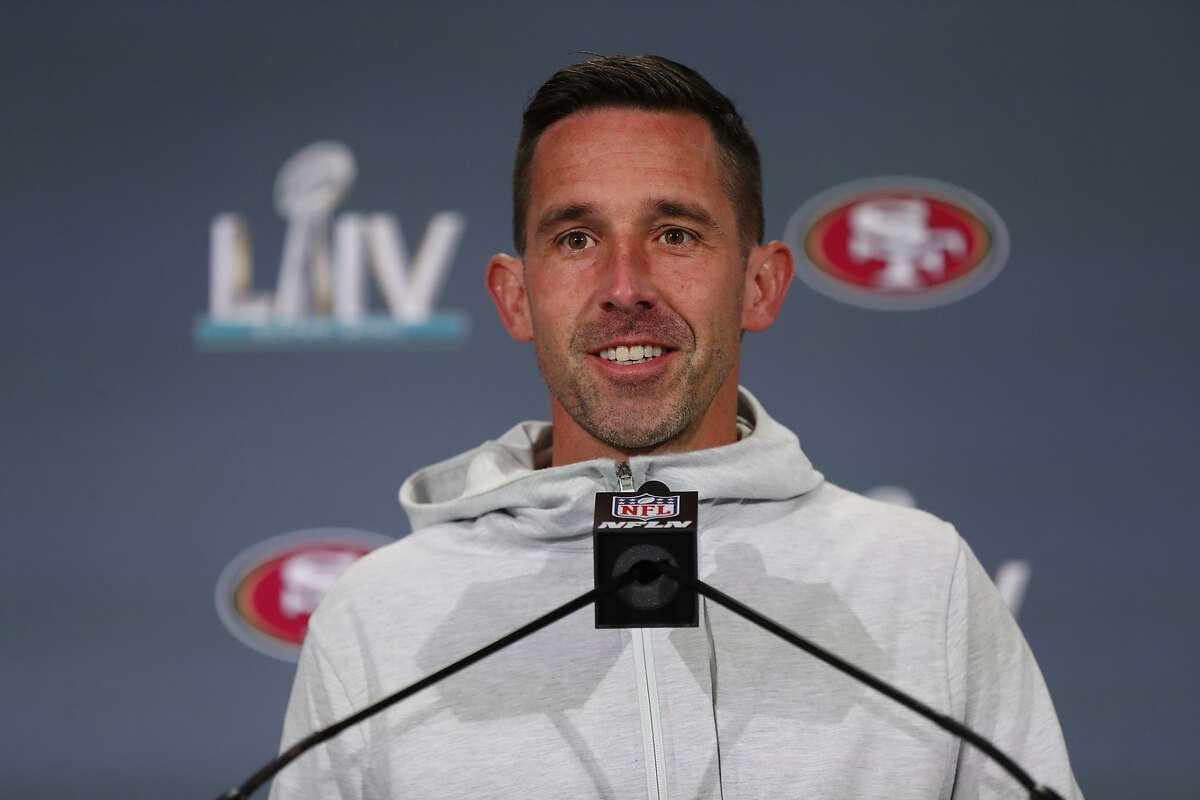 San Francisco 49ers head coach Kyle Shanahan speaks at a media availability, Thursday, Jan. 30, 2020, in Miami, for the NFL Super Bowl 54 football game against the Kansas City Chiefs. (AP Photo/Wilfredo Lee)