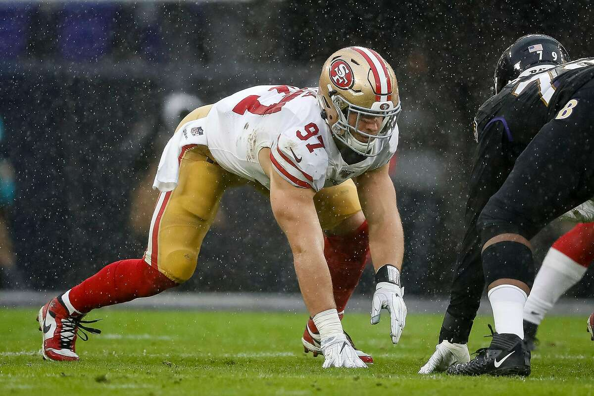 San Francisco 49ers defensive end Nick Bosa (97) lines up against the Baltimore Ravens at M&T Bank Stadium in Baltimore on December 1, 2019. (Scott Taetsch/Getty Images/TNS)