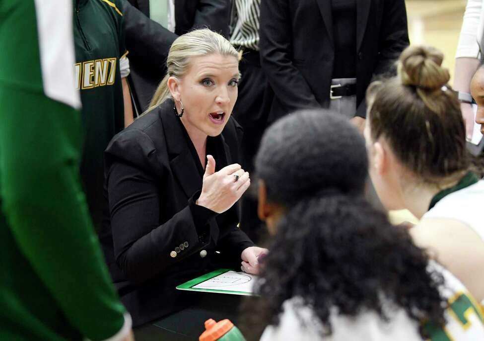 Siena head coach Ali Jaques instructs her players against Canisius during the first half of a NCAA women's college basketball game, Saturday, Feb. 1, 2020, in Loudonville, N.Y.