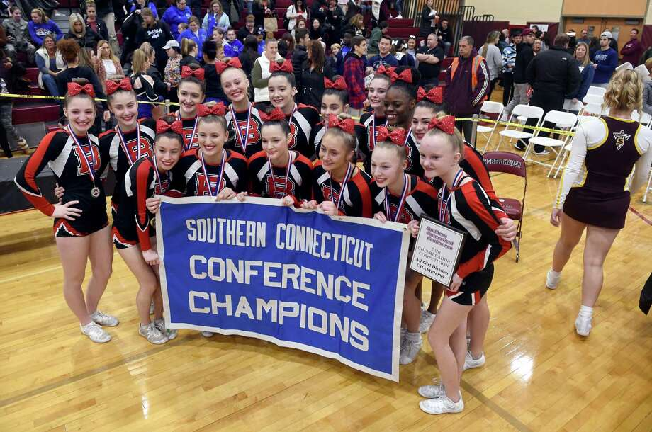 Branford won the 2020 SCC Cheerleading Competition in the All-Girl Division at North Haven High on Saturday. Photo: Arnold Gold / Hearst Connecticut Media / New Haven Register