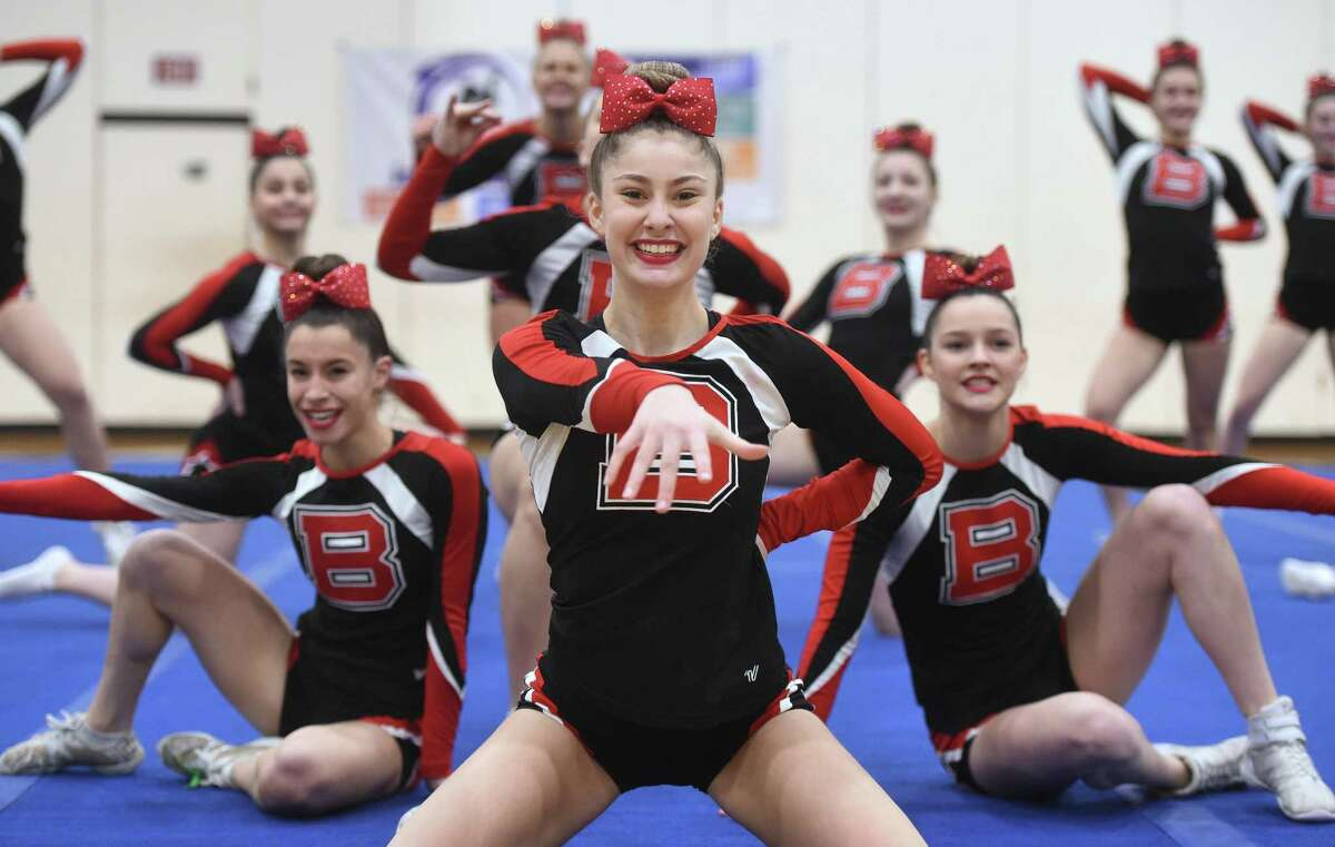 Branford competes in the SCC Cheerleading Competition at North Haven High on Saturday.
