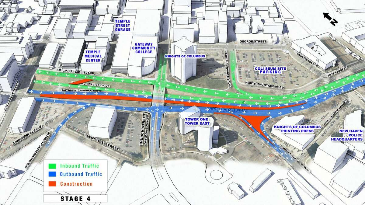 A rendering from the Downtown Crossing Phase 2 project in New Haven, which will connect Orange Street and South Orange Street, showing current areas of construction.