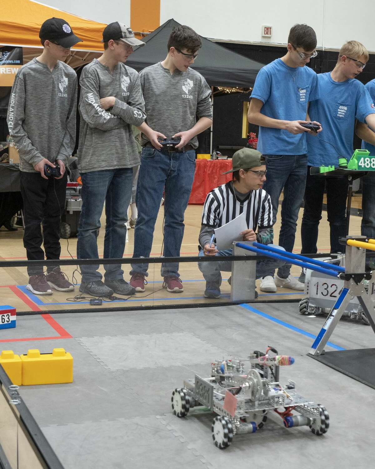 Midland Classical Academy's Hot Box Black, 13249, compete 02/01/2020 in the FIRST Tech Challenge South League championships at UTPB. Tim Fischer/Reporter-Telegram