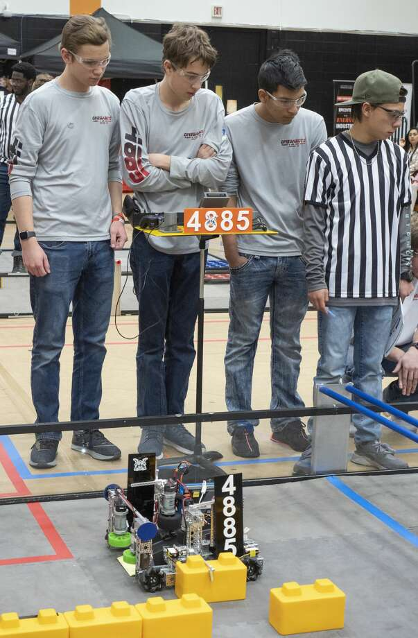 Lee High's Omegabotz, 4885, watch during the automated program competition 02/01/2020 in the FIRST Tech Challenge South League championships at UTPB. Tim Fischer/Reporter-Telegram Photo: Tim Fischer/Midland Reporter-Telegram
