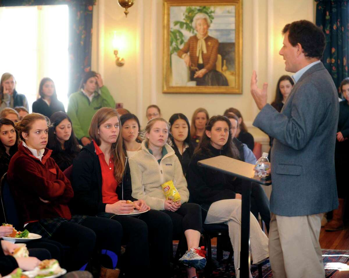 Two-time Pulitzer Prize winner Nicholas Kristof speaks to students at Greenwich Academy Monday, Feb. 6, 2012. Kristof is a columnist for the New York Times who focuses on issues of international human rights violations.