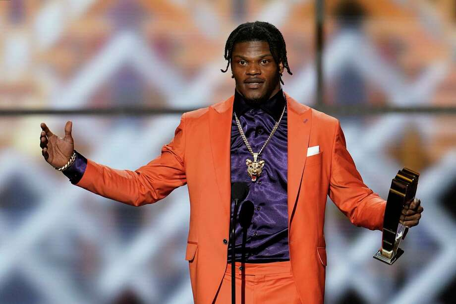 Baltimore Ravens' Lamar Jackson speaks after winning the AP Most Valuable Player award at the NFL Honors football award show Saturday, Feb. 1, 2020, in Miami. (AP Photo/David J. Phillip) Photo: David J. Phillip, Associated Press / Copyright 2020 The Associated Press. All rights reserved.
