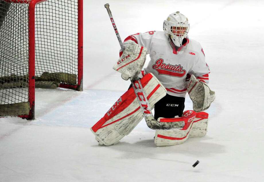 Fairfield Prep goalie Andrew Stietzel deflects a Notre Dame-West Haven on Saturday. Photo: Christian Abraham / Hearst Connecticut Media / Connecticut Post