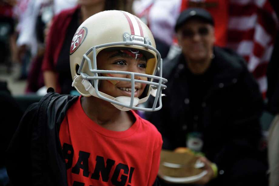 San Francisco 49ers fan Jaleel Cox celebrates during a fan rally on Saturday, Feb. 1, 2020, in Miami, for the NFL Super Bowl 54 football game. (AP Photo/Brynn Anderson) Photo: Brynn Anderson / Associated Press / Copyright 2020 The Associated Press. All rights reserved.
