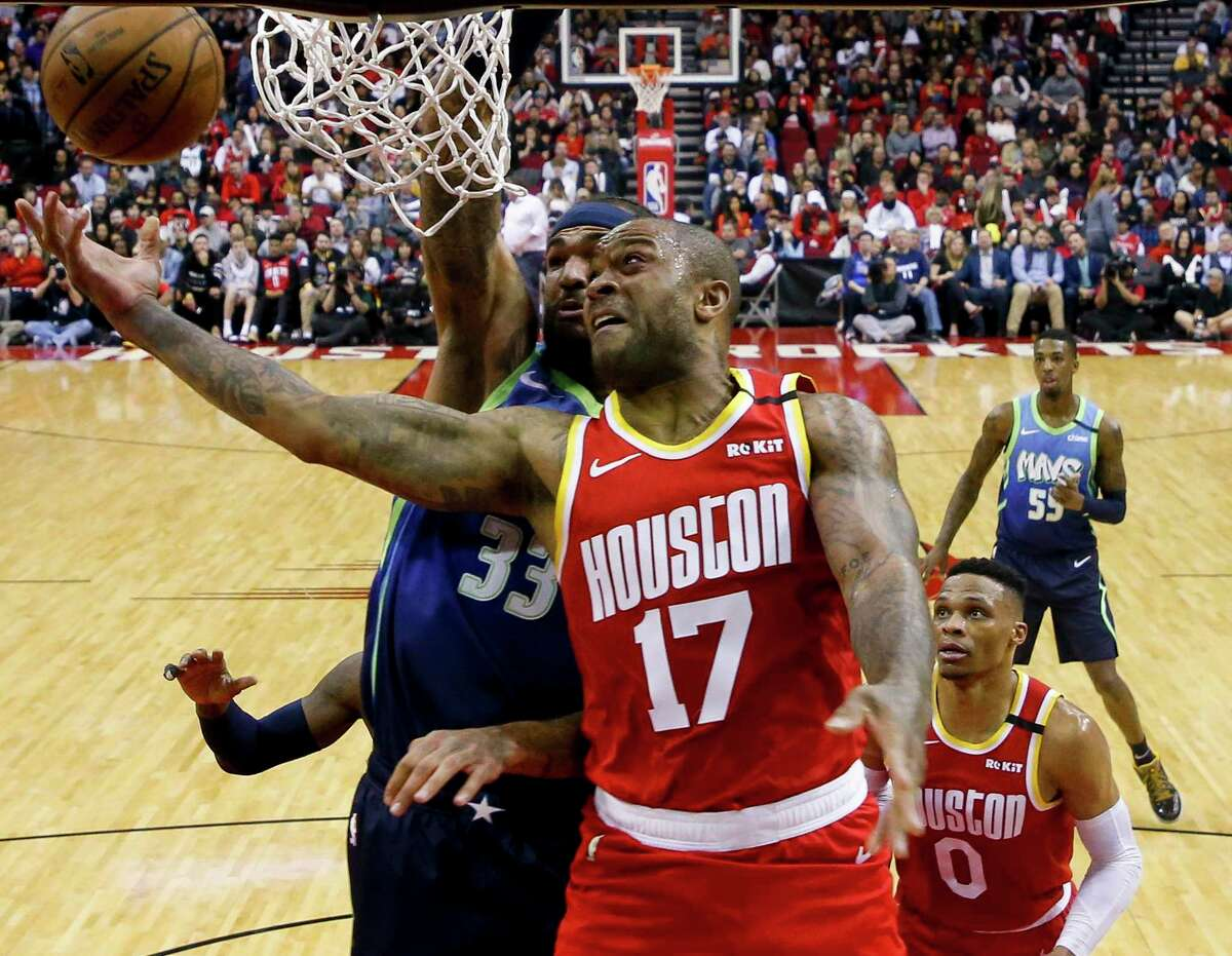 Rockets forward P.J. Tucker, center, is serving as the 6-5 center of the undersized starting lineup coach Mike D'Antoni has been using the past two games while center Clint Capela is sidelined.