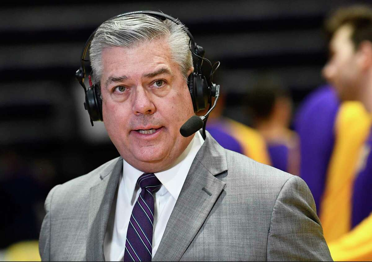 University at Albany basketball announcer Rodger Wyland before the first half of an NCAA basketball game against Maine Saturday Jan. 11, 2020, in Albany, N.Y. (Hans Pennink / Special to the Times Union)