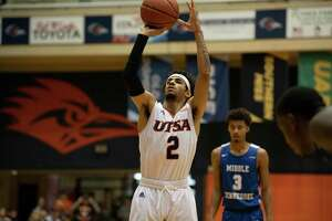 UTSA point guard Jhivvan Jackson, pictured shooting free throws against Middle Tennessee State last season, attempted 24 shots and finished with 26 points against North Texas on Friday.