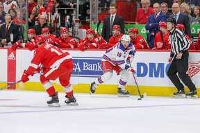 The Detroit Red Wings face off against the New York Rangers at Little Caesars Arena on Saturday, Feb. 1, 2020.
