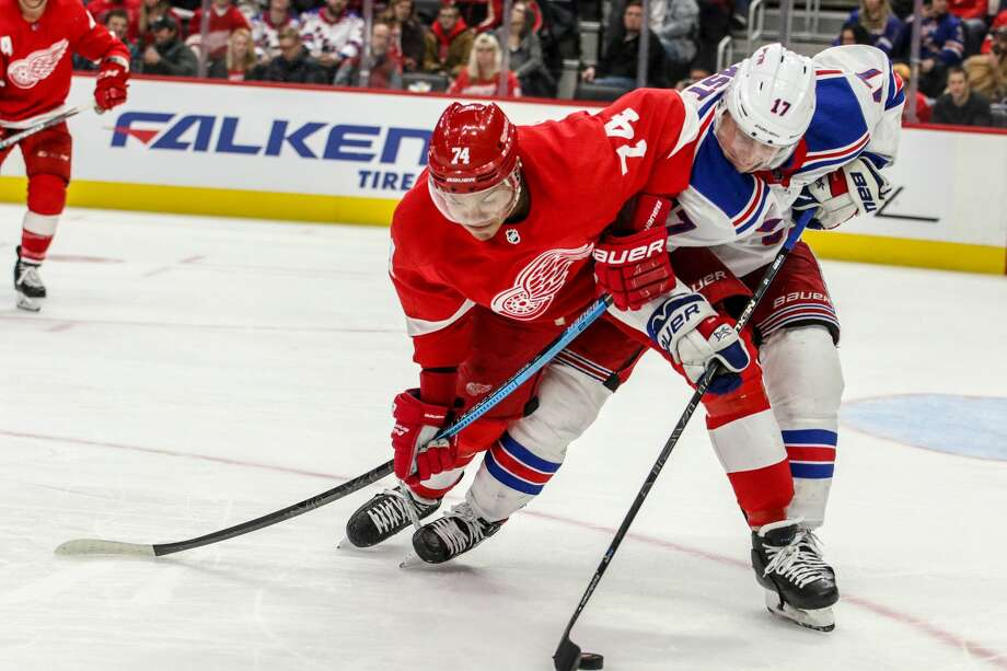 The Detroit Red Wings face off against the New York Rangers at Little Caesars Arena on Saturday, Feb. 1, 2020. Photo: Eric Young/Huron Daily Tribune