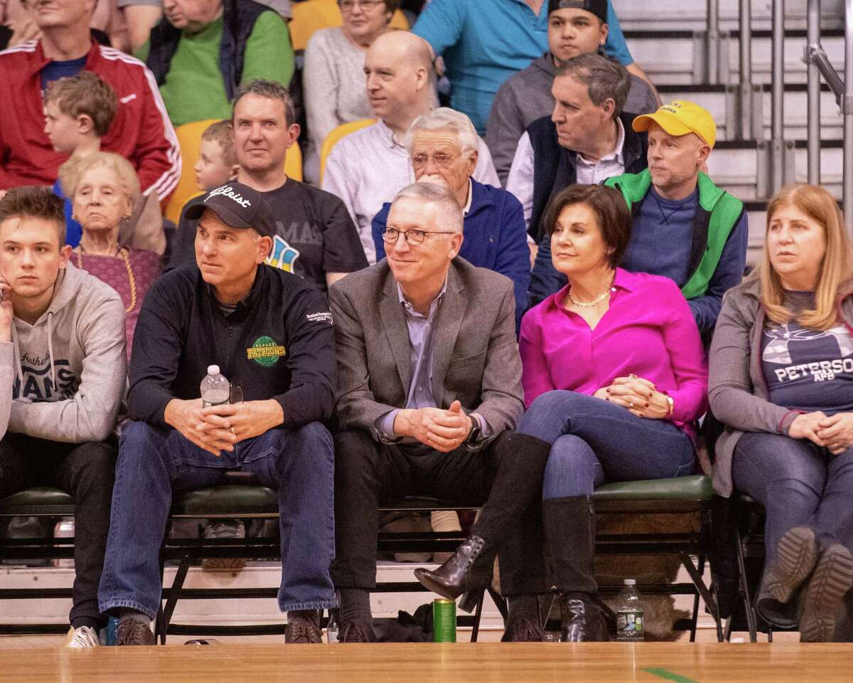 Albany Patroons owner Dr. Tim Maggs watches his team win The Basketball League season opener aginst the Tri-State Admirals at the Washington Avenue Armory in Albany NY on Saturday, Feb. 1, 2019 (Jim Franco/Special to the Times Union.)