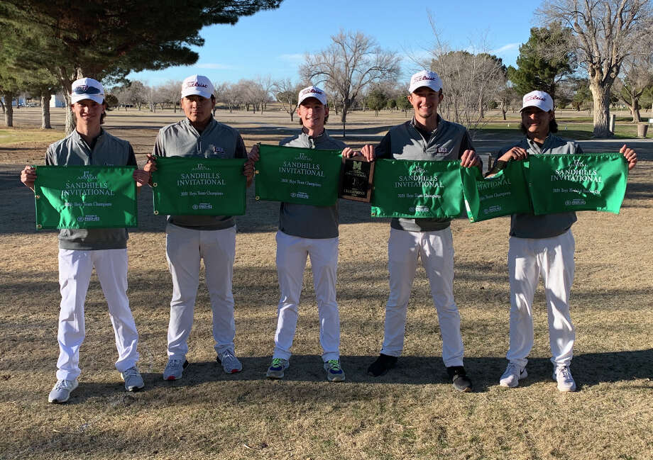 The Lee boys golf team pose with their champion flag pole banners after winning the Sandhills Invitational, Saturday in Monahans. Photo: Courtesy Photo