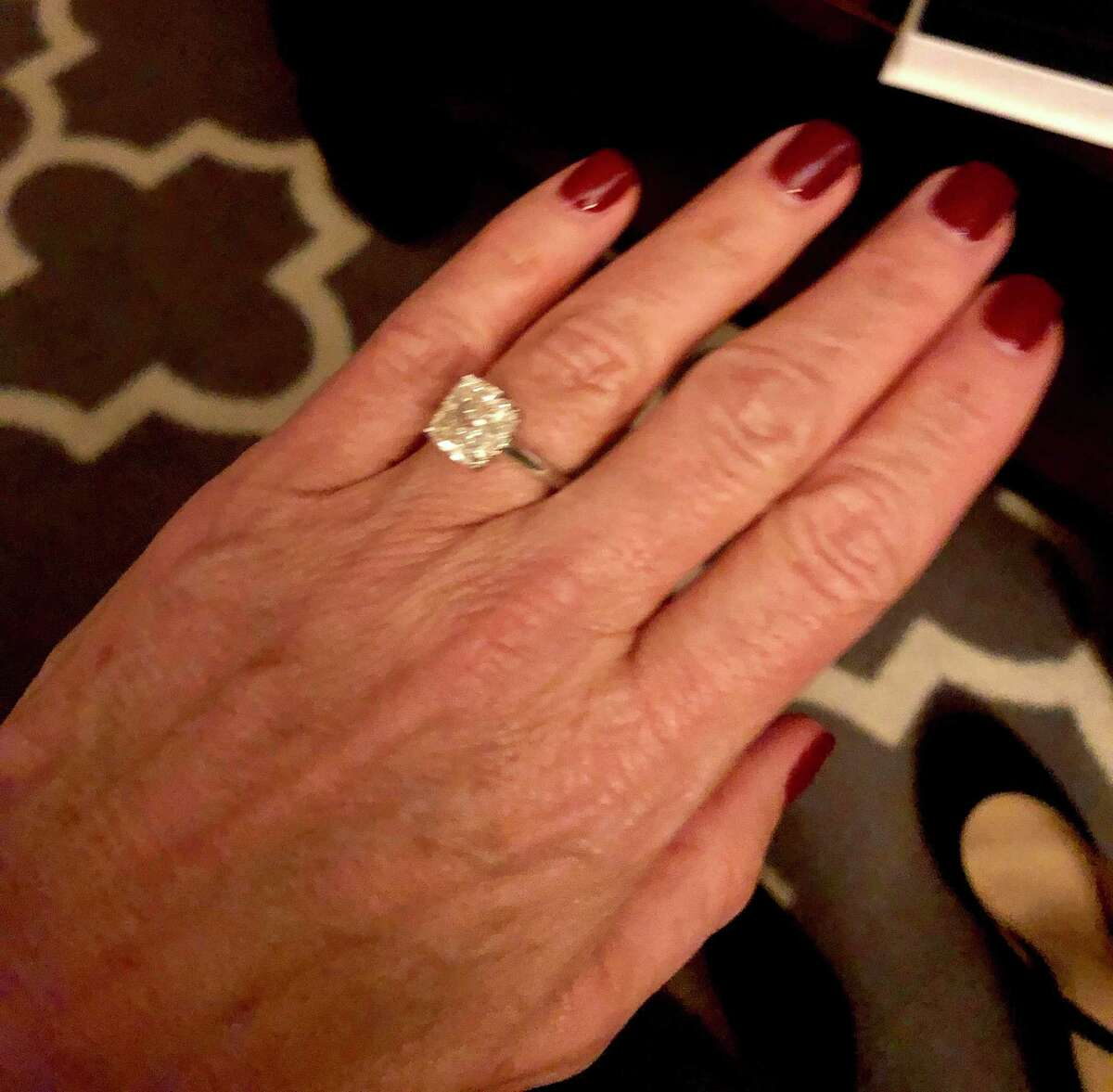 Themis Klarides, R-Derby, shows an engagement ring on Friday, Jan. 31, 2020. She got engaged to Greg Butler, senior vice president of Eversource.