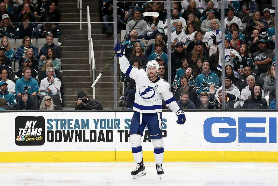 Tampa Bay center Steven Stamkos celebrates his goal during the second period of the Lightning's 3-0 victory over the Sharks at SAP Center on Saturday night. Tampa Bay improved to 32-15-5. Photo: Josie Lepe / Associated Press