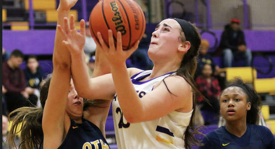 CM's Anna Hall scored 26 points, leading the Eagles past Quincy Notre Dame 62-53 Saturday in Bethalto. She is shown in earlier season action against O'Fallon. Photo: Greg Shashack File | The Telegraph