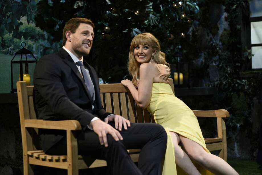 "PHOTOS: Every sketch J.J. Watt appeared in as host of ""Saturday Night Live"" ""JJ Watt"" Episode 1779 -- Pictured: (l-r) Host JJ Watt as Pat and Chloe Fineman during the ""Pilot Hunk"" sketch on Saturday, February 1, 2020. Browse through the photos to learn more about each sketch J.J. Watt was in as host of ""Saturday Night Live"" ... Photo: NBC/NBCU Photo Bank Via Getty Images"