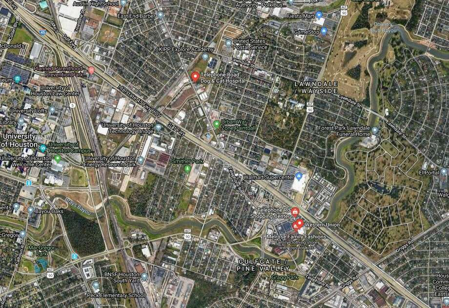 Houston police received reports around 12:13 a.m. that a person ran across the freeway and was hit by a Range Rover driving on I-45 near Telephone Road. Photo: Google Maps
