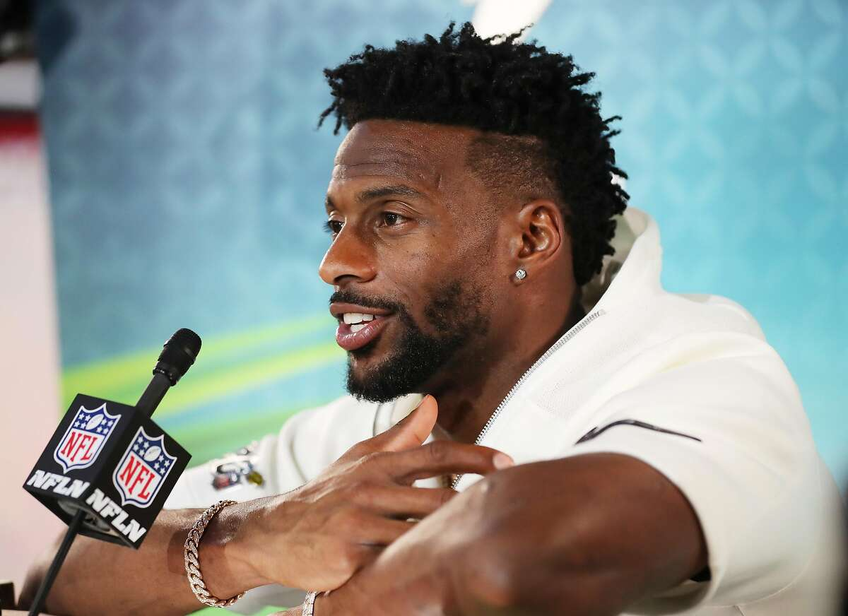 Wide receiver Emmanuel Sanders #17 of the San Francisco 49ers speaks to the media during Super Bowl Opening Night presented by BOLT24 at Marlins Park on January 27, 2020 in Miami, Florida. (Photo by Michael Reaves/Getty Images)