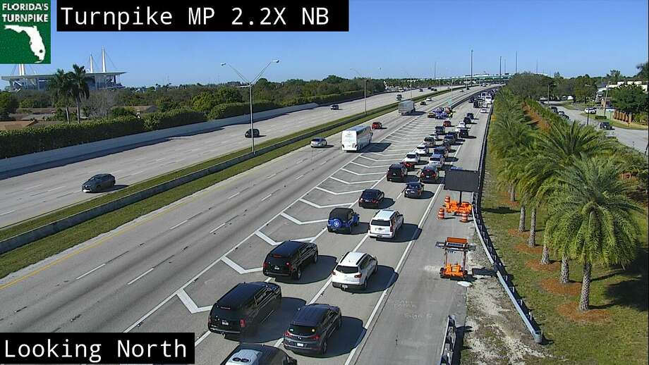 Traffic bottlenecks near Hard Rock Stadium in Miami ahead of Super Bowl LIV between the San Francisco 49ers and Kansas City Chiefs on Feb. 2, 2020. Photo: FDOT